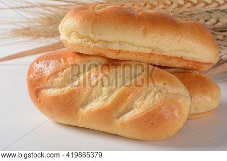 French Baguette. Fresh Mini Baguettes With Crispy Golden Crust
