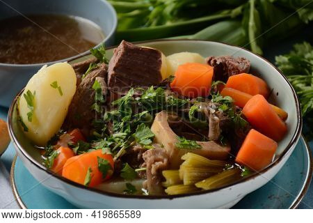 Pot-au-feu, Traditional French Stew. Stewed Beef And Potatoes. In France Considered A National Dish.