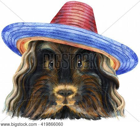 Cute Cavy In Sombrero Hat. Pig For T-shirt Graphics. Watercolor Merino Guinea Pig Illustration