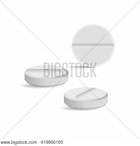 White Medicine Pills, Vector Art Illustration Cure.