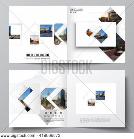 Vector Layout Of Two Covers Templates With Geometric Simple Shapes, Lines And Photo Place For Square
