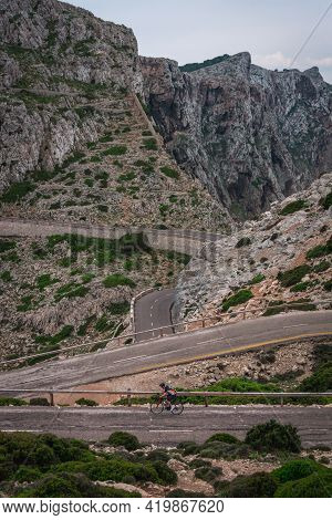 Cap De Formentor, Mallorca, Spain - May 21, 2018: Road Bikers On The Road On Balearic Islands. Sea I