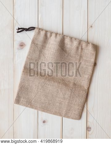 Tote Bag With Drawstring Mockup Of Small Eco Sack Made From Jute Hessian Canvas Or Natural Hemp Burl