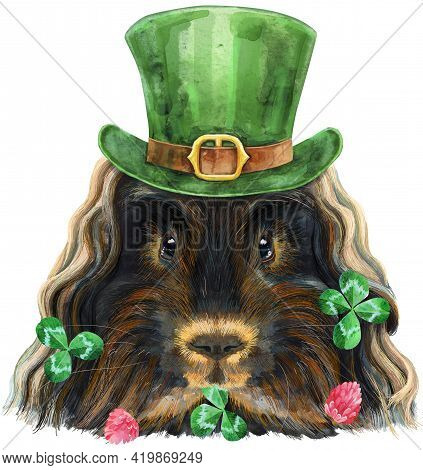 Cute Cavy In A Leprechaun's Hat. Pig For T-shirt Graphics. Watercolor Merino Guinea Pig Illustration
