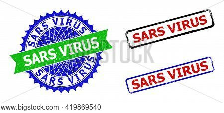 Bicolor Sars Virus Seal Stamps. Green And Blue Sars Virus Seal With Sharp Rosette And Ribbon Design