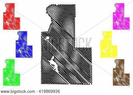 Klamath County, Oregon State (u.s. County, United States Of America, Usa, U.s., Us) Map Vector Illus