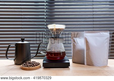 Hand Drip Coffee, Barista Making Drip Coffee With Mockup Blank Package Coffee Alternative Ways Of Br