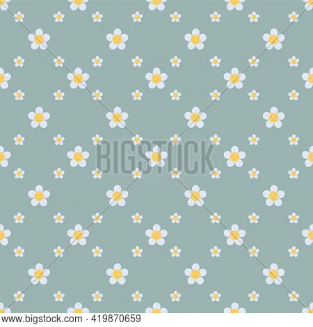 Minimal Daisy Seamless Pattern On Blue Background. Floral Ditsy Print With Small White Flowers. Cham