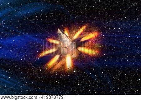 Spaceship In Space. Sci Fi Collage With Strange Engine Nozzles At The Side. Elements Of This Image F
