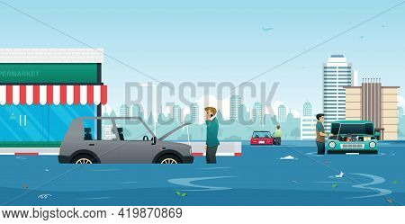 A Man Called A Mechanic To Consult The Car Breakdown From The Flood.