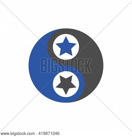 Yin Yang Star Logo Graphic Vector Illustration