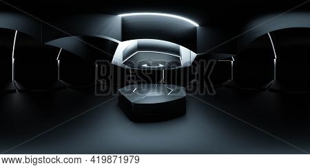 Full 360 Panorama View Of Empty Dark Futuristic Technology Design Studio Building Interior With Prod