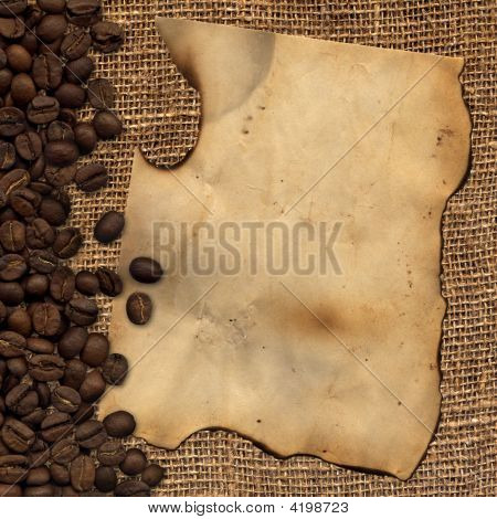Old Paper With Coffee Beans