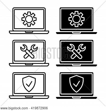 Technical Assistance Icons. Simple Flat Symbol Of Laptop Computer. Laptop Monitor With Shield And Su