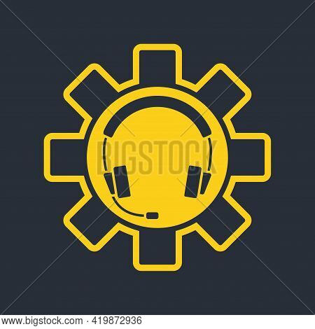Headphones With Microphone And Support Icon. Hotline Support Service. Agent User Talking. Headset Ic