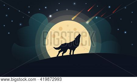 Wolf Howls At The Moon At Night Vector Illustration