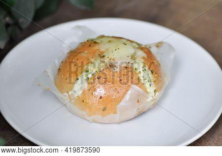 Cheese Bun, Mozzarella Cheese Bun Or Bun With Cheese Stuffed Or Cheese Bread For Serve