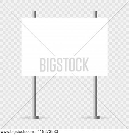 Yard Sign Mockup. White Realistic Advertising Banner. Horizontal Mock Up Vector Illustration. Blank