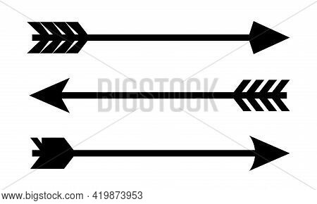 Bow Arrow Vector Icon. Arrow In Vintage Style. Decorative Arrows Collection Isolated On White Backgr