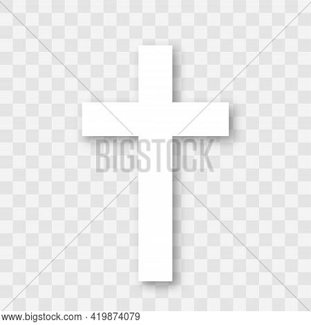 Line Art White Christian Cross. Christian Cross Vector Sign With Shadow Isolated On Transparent Back