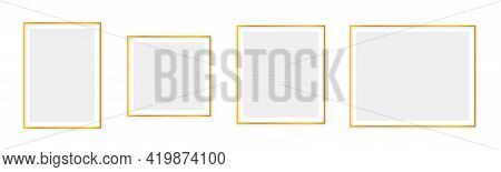 Gold Frame Background. Set Of Luxury Thin Line Borders With Shadow. Realistic 3D Glamour Rectangle T