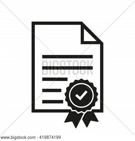 Approval Paper Document Vector Icon. Verification Symbol. Approved Document With Check Mark Isolated