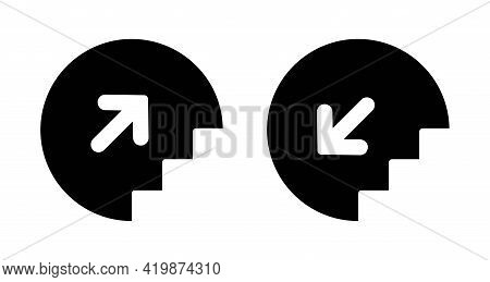 Stairs Up And Down Icon With Arrow. Elevator Sign Upward And Downward Isolated. Stairway Black Picto