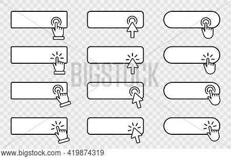 Click Cursor Blank Button On Transparent Background. Clicking Banner Template.