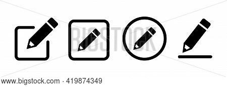 Pencil Icon Set. Pen Simple Vector Icons Collection In Flat Style. Edit Symbol For Web Site Design A