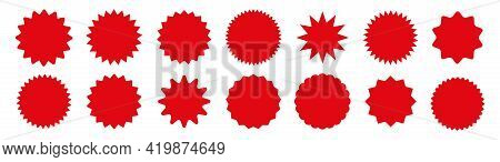 Set Red Star Burst In Retro Style On White Background. Starburst Speech Bubble Round Badge. Stars Fo