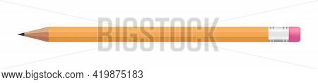 Realistic Pencil For Decoration Design. Wooden Yellow Pencil Isolated On White Background. Vector Il