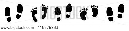 Silhouette Of Different Human Footprints. Set Baby, Men And Woman Footsteps. Vector Illustration.