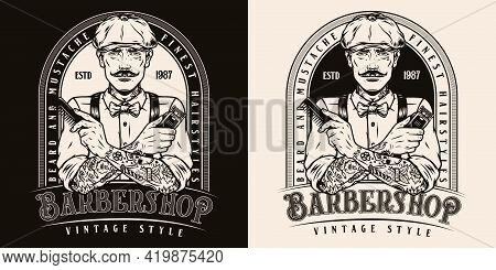 Barbershop Vintage Monochrome Label With Stylish Mustached Barber In Irish Cap Holding Electrical Ha