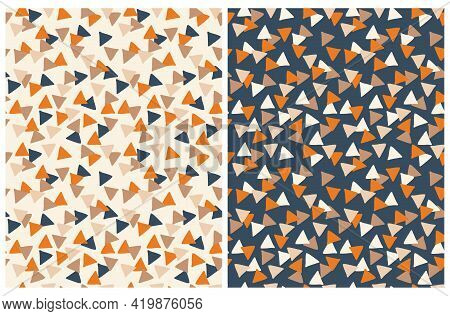 Abstract Geometric Vector Seamless Pattern. Dark Blue, White And Orange Hand Drawn Triangles Isolate