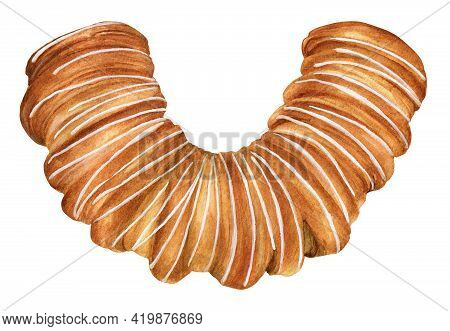 Watercolor Illustration Of The Puff Pastry Bun With Icing. Baked Sweet Food