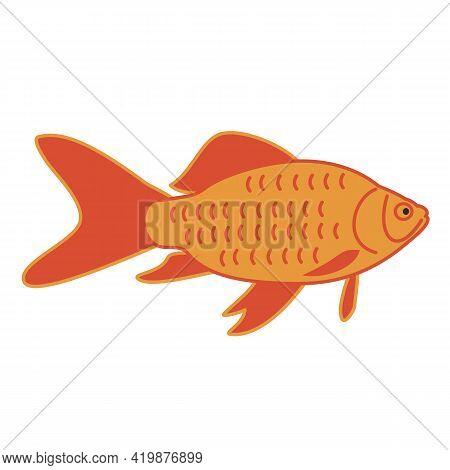 Simple Gold Fish. Hand-drawn Vector Silhouette, Flat Style. Orange And Dark Yellow. Aquarium Inhabit