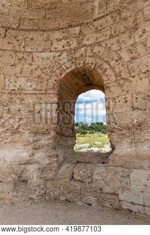 The Window In The Ruins Of The Byzantine Church Of St. Anne Near The Maresha City In Beit Guvrin, Ki
