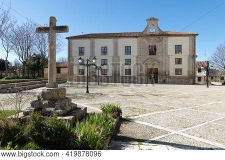 Ampudia, Spain - February 23, 2021: City Hall Of Ampudia In A Sunny Day, Palencia, Castilla Y León,