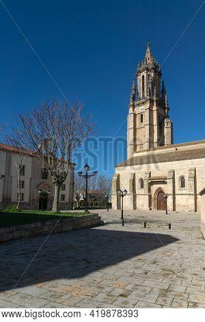Ampudia, Spain - February 23, 2021: San Miguel Church In Ampudia In A Sunny Day, Palencia, Castilla