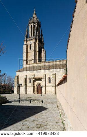 San Miguel Church In Ampudia In A Sunny Day, Palencia, Castilla Y León, Spain.