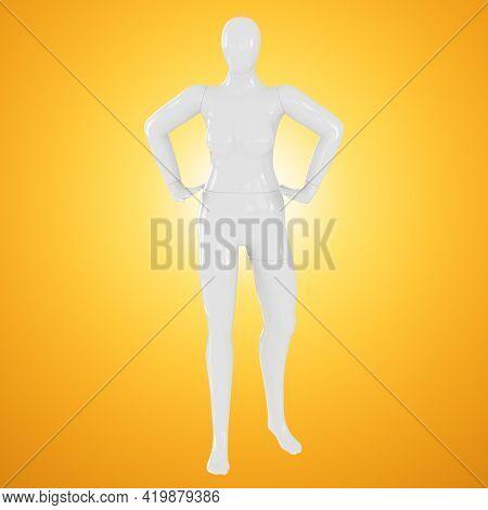 Fat Faceless Female Mannequin On An Orange Backlit Background. Mannequin Plus Size. Front View. 3d R