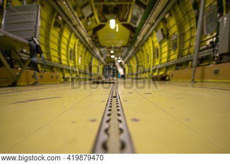 Empty Cabin Of A Cargo Plane. Air Cargo Transportation.