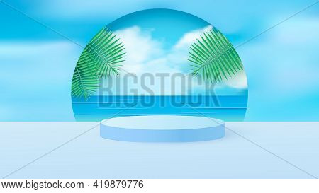 A Minimal Scene With A Light Blue Cylindrical Podium With Tropical Leaves Against The Sky. Scene For