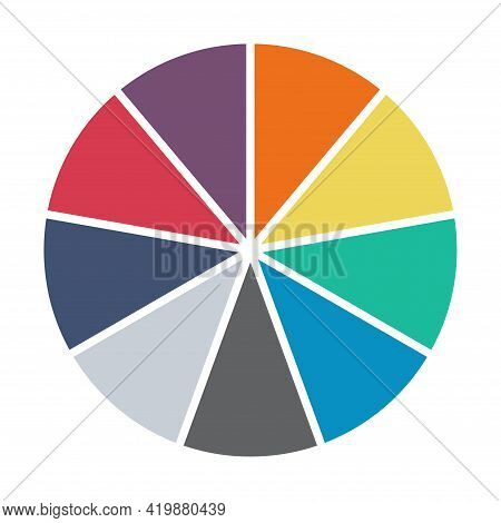 Infographic Pie Chart. Cycle Presentation Diagram 9 Section. Vector Isolated On White Background .