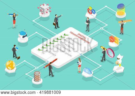3d Isometric Flat Vector Conceptual Illustration Of Digital Transformation Areas Which Are Big Data,