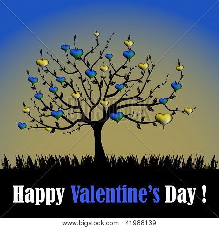 Tree with yellow and blue hearts