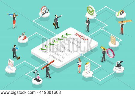 3d Isometric Vector Conceptual Illustration Of Haccp - Hazard Analysis And Critical Control Points.