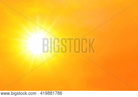 Sky Orange Gold With Sunlight Shine Glow, Hot And Burning Climate Concept, Yellow Gold Sky And Atmos