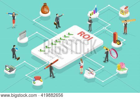 3d Isometric Flat Vector Conceptual Illustration Of Roi - Return On Investment, Business Investment