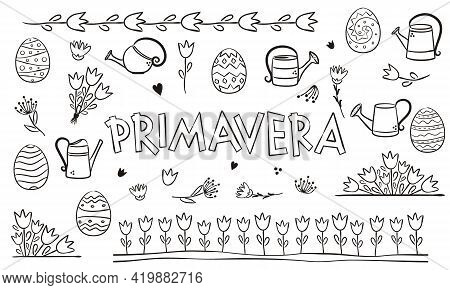 Spanish Or Italian Spring Coloring. Doodle Elements For Seasonal Calendar. Hand-drawn Doodle Objects